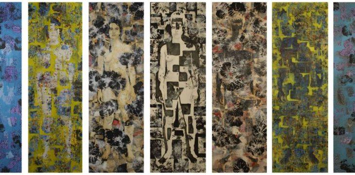 Dichotomie : polyptyque, 7 panneaux de 186x61 cm - Huiles sur panneau bois